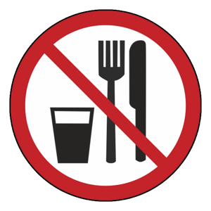 """Наклейка """"С едой и напитками запрещено!"""""""