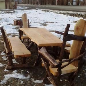 Комплект: стол, стулья и лавочки